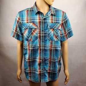 🔴2/$40🔴 prAna Blue Orange Plaid Button Down Sz L
